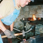 Chris Hubbard, shown here, is the Glidden Homestead&#039;s chief blacksmith at the Phineas Vaughan Blacksmith Shop.