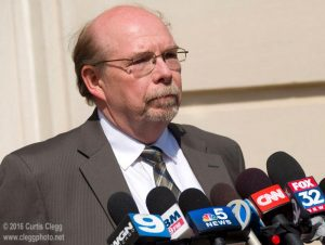 DeKalb County state's attorney Richard Schmack speaks to reporters following Jack McCullough's court hearing at the DeKalb County Courthouse in Sycamore, Ill. on Tuesday, March 29, 2016. Photo by Curtis Clegg