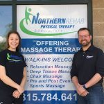 Pictured here is Northern Rehab's 2016 Sports &Health Scholarship recipient Tabi Long (left) with Northern Rehab PhysicalTherapist Todd Vanatta.