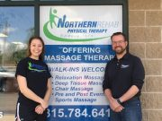 Pictured here is Northern Rehab's 2016 Sports & Health Scholarship recipient Tabi Long (left) with Northern Rehab Physical Therapist Todd Vanatta.