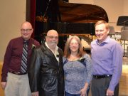 Pictured here (L to R) is SHS Music Department Chair Scott Mertens, Frank and Suzanne Riccardi, and Sycamore Music Boosters President Ken Olson accepting a generous donation to the Sycamore Music Boosters from the Riccardi family.