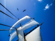 At sea on a tallship, blue skies