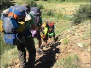 Scouts hiking along the trail at Philmont Scout Ranch in New Mexico.