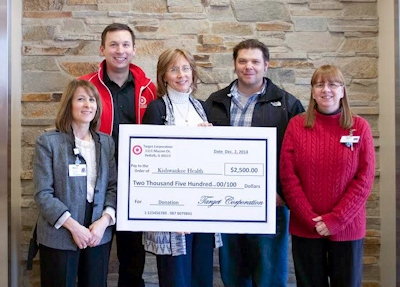 Pictured from left to right: Marcy Rubic, executive director of KishHealth System Foundation, Jason Helton, operations leader for the Target Distribution Center, Susan Lundin, development coordinator for KishHealth System Foundation, Aaron Latshaw, operations leader for the Target Distribution Center, Vickie Peyton, oncology social worker at KishHealth System Cancer Center.