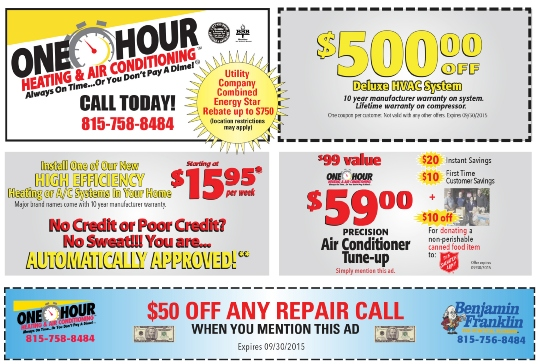 Tune Up Coupons >> New Coupons From One Hour Heating And Air Conditioning Dekalb