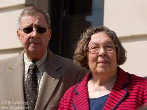 Maria Ridulph's brother Charles Ridulph (left) and sister Patricia Quinn address the press after Jack McCullough's court hearing at the DeKalb County Courthouse in Sycamore, Ill. on Tuesday, March 29, 2016. Photo by Curtis Clegg
