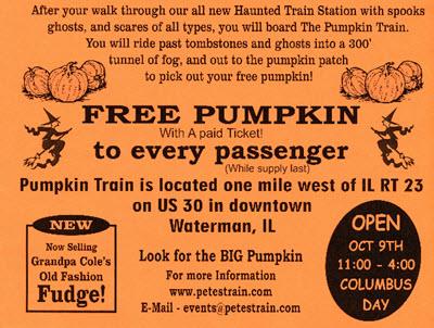 Pumpkin train rides dekalb county convention and visitors bureau.