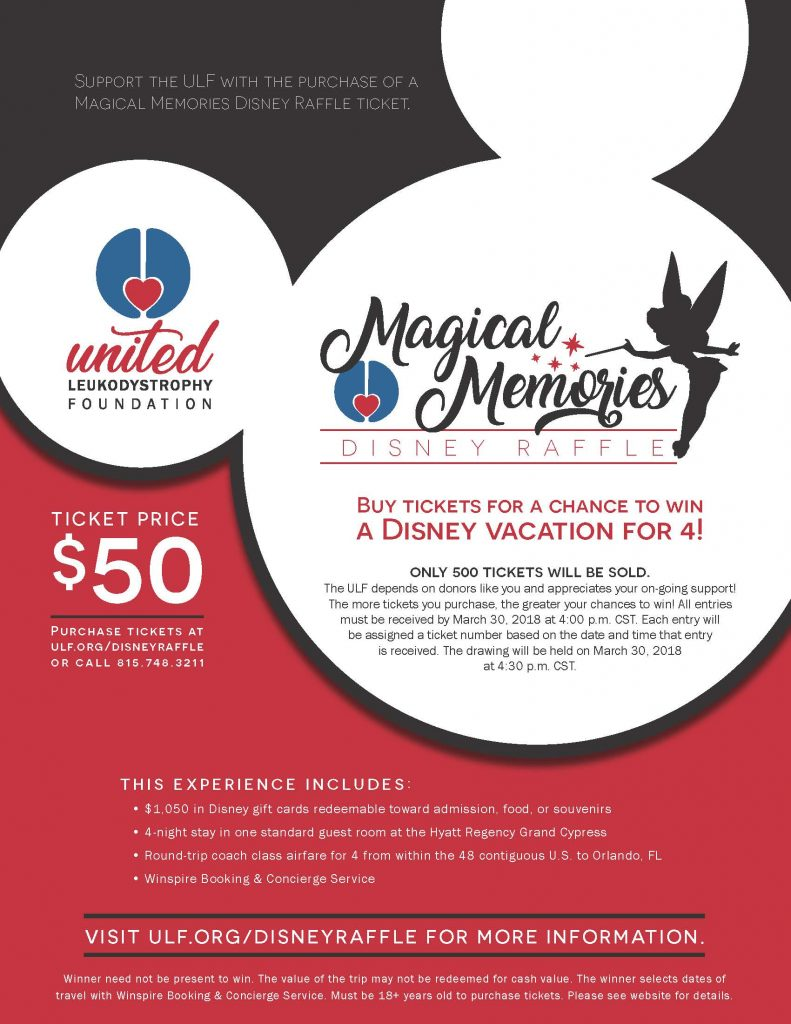 support the united leukodystrophy foundation with the purchase of a magical memories disney raffle ticket the winner of the raffle will receive 1050 in