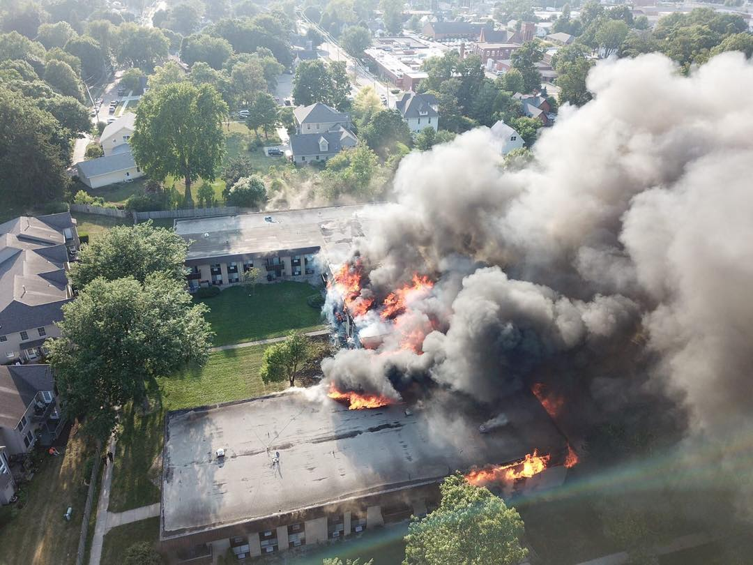 Huge Fire at St  Albans Greens Apartments in Sycamore