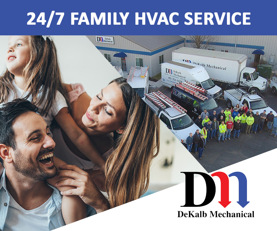 DeKalb Mechanical offers 24/7 emergency service in electrical, HVAC, and plumbing services
