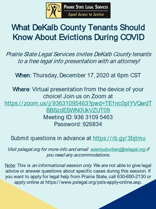 Eviction Informational Session for Dekalb Tenants